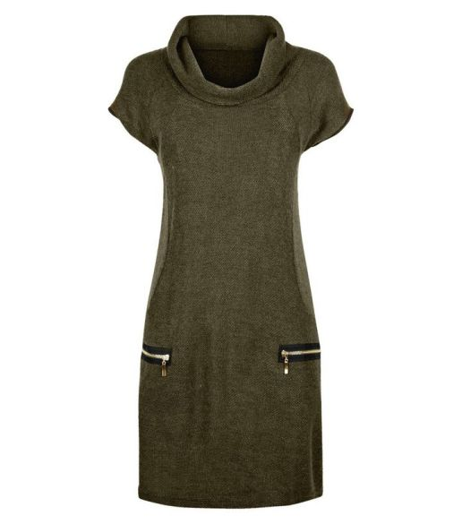 apricot-green-waffle-texture-cowl-neck-dress