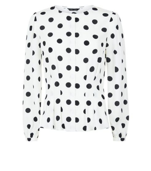 white-polka-dot-pleated-waist-blouse