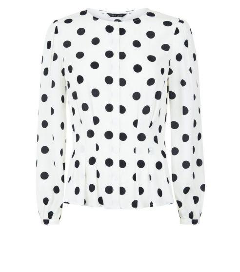 white-polka-dot-pleated-waist-blouse