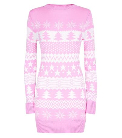 mela-shell-pink-fairisle-knit-christmas-jumper-dress