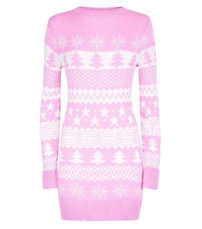 mela-shell-pink-fairisle-knit-christmas-jumper-dress